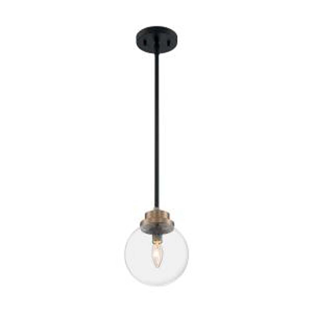 Nuvo Axis 1-Light Pendant w/ Clear Glass in Brass Accents Finish