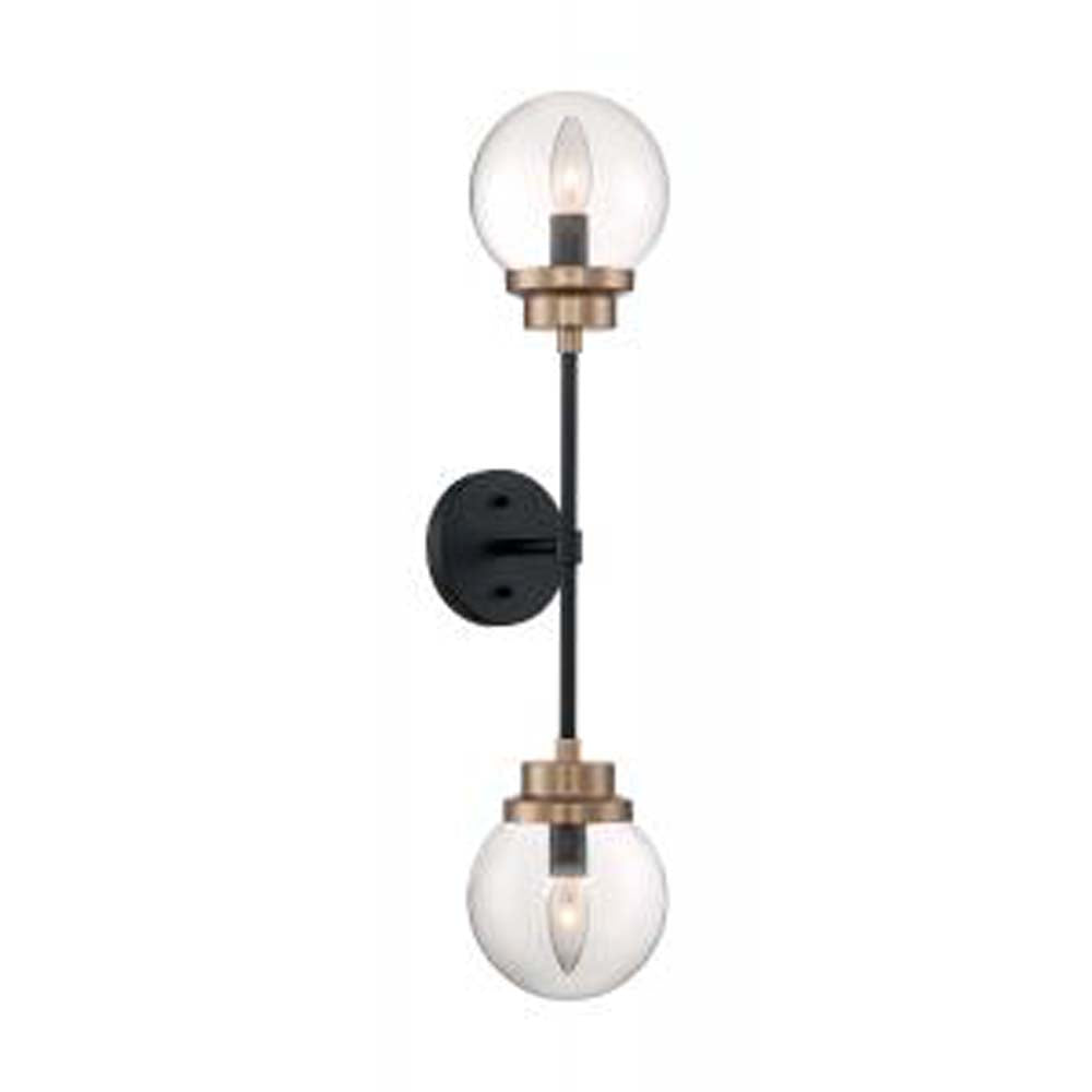Nuvo Axis 2 Light Sconce w/ Clear Glass in Matte Black & Brass Accents Finish