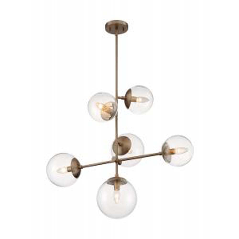 Nuvo Sky 6-Light Pendant w/ Clear Glass in Burnished Brass Finish