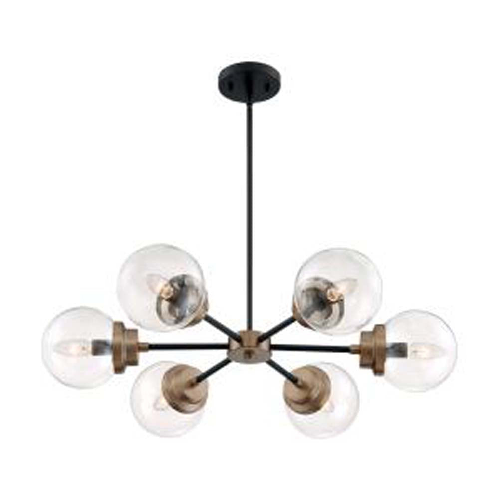 Nuvo Axis 6-Light Chandelier w/ Clear Glass in Matte Black & Brass Finish