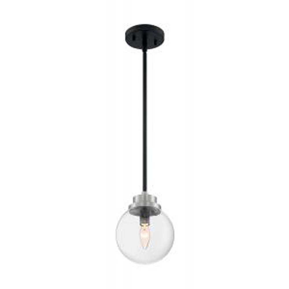 Nuvo Axis 1-Light Pendant w/ Clear Glass in Matte Black & Brushed Nickel Accents