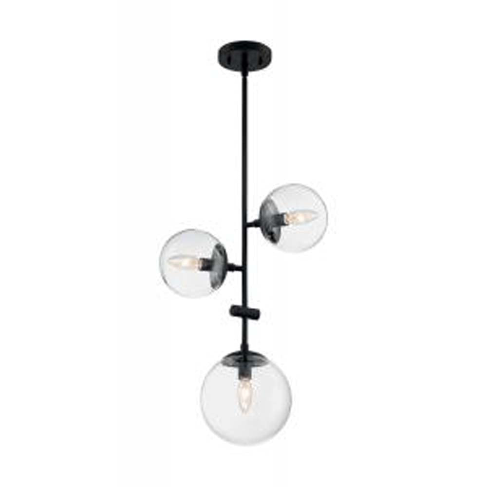 Nuvo Sky 6-Light Pendant w/ Clear Glass in Matte Black Finish