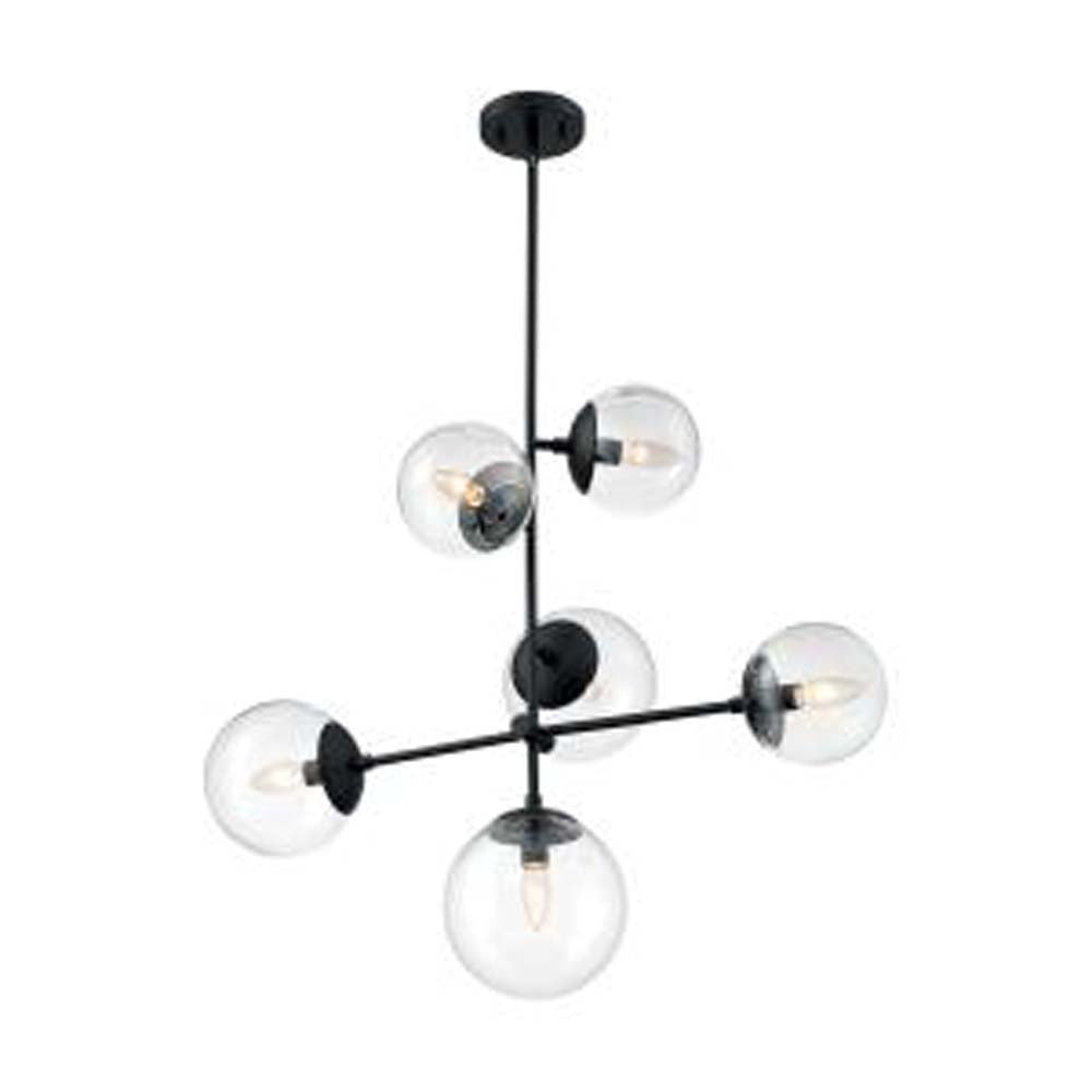 Nuvo Axis 1-Light Pendant w/ Clear Glass in Matte Black & Brass Accents Finish
