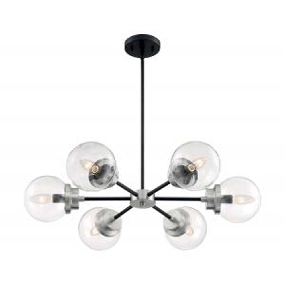 Nuvo Axis 6-Light Chandelier w/ Clear Glass in Matte Black & Brushed Nickel