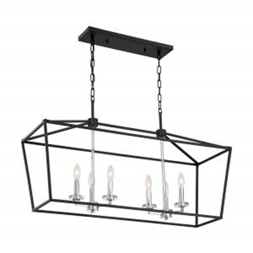Nuvo Storyteller 6-Light Pendant w/ Matte Black & Polished Nickel Accents Finish