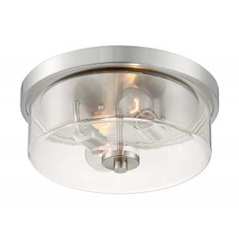 Nuvo Sommerset 2 Light Flush Mount w/ Clear Glass in Brushed Nickel Finish