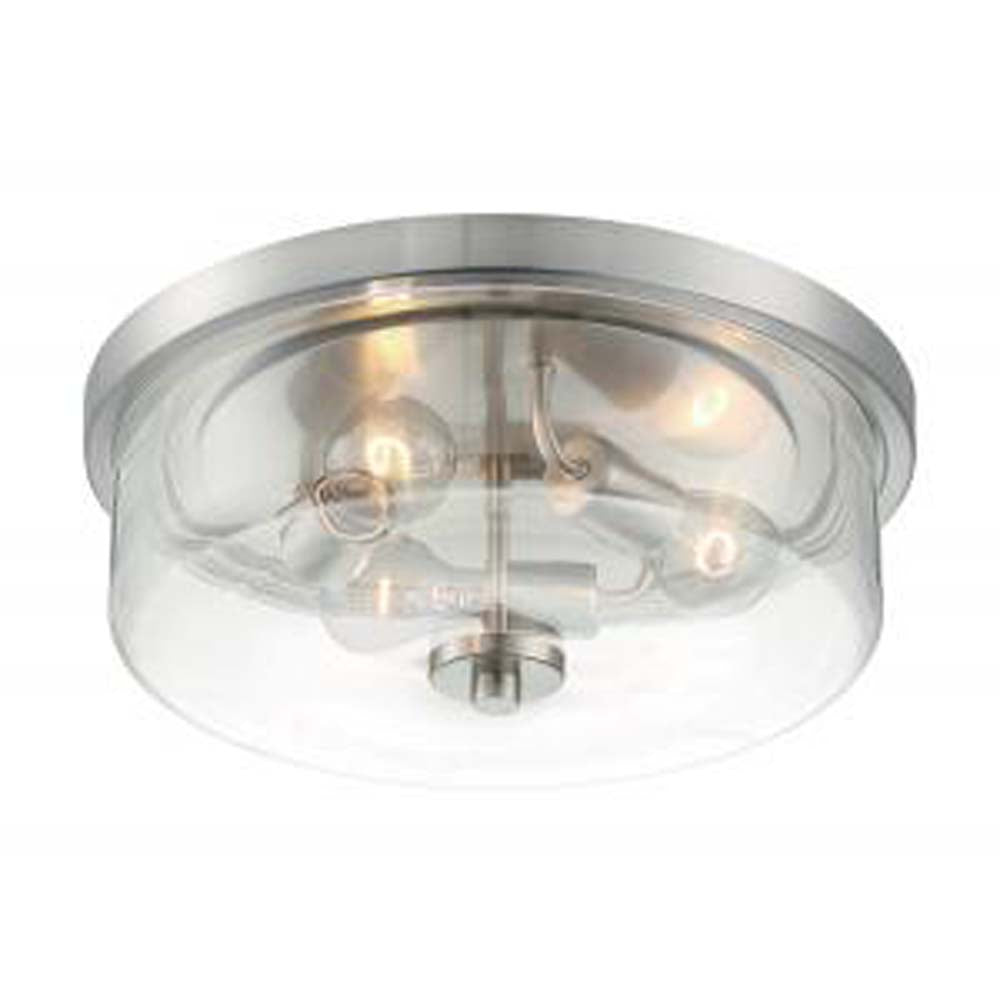 Nuvo Sommerset 3-Light Flush Mount w/ Clear Glass in Brushed Nickel Finish