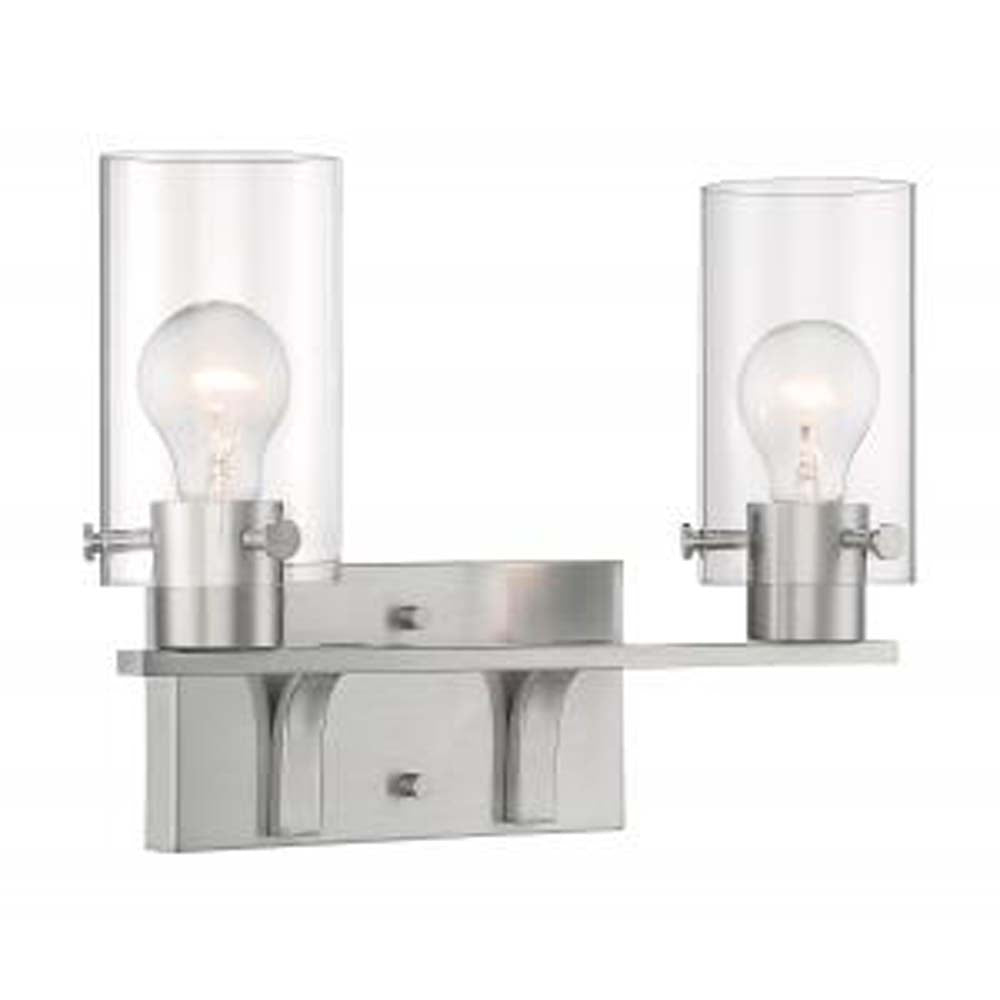 Nuvo Sommerset 2 Light Vanity w/ Clear Glass in Brushed Nickel Finish