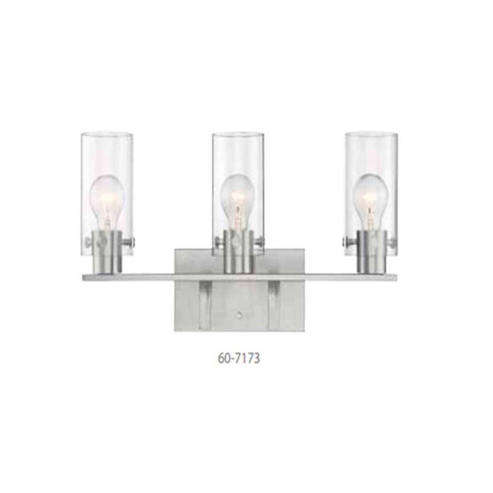Nuvo Sommerset 3-Light Vanity w/ Clear Glass in Brushed Nickel Finish