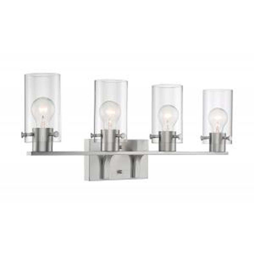 Nuvo Sommerset 4-Light Vanity w/ Clear Glass in Brushed Nickel Finish