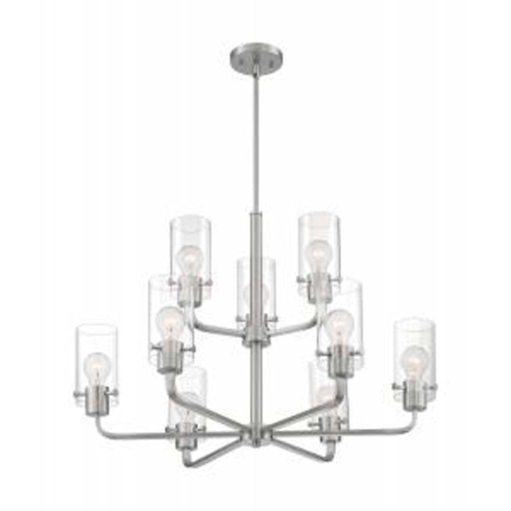 Nuvo Sommerset 9-Light Chandelier w/ Clear Glass in Brushed Nickel Finish
