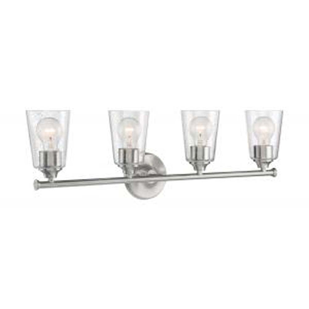 Nuvo Bransel 4-Light Vanity w/ Seeded Glass in Brushed Nickel Finish