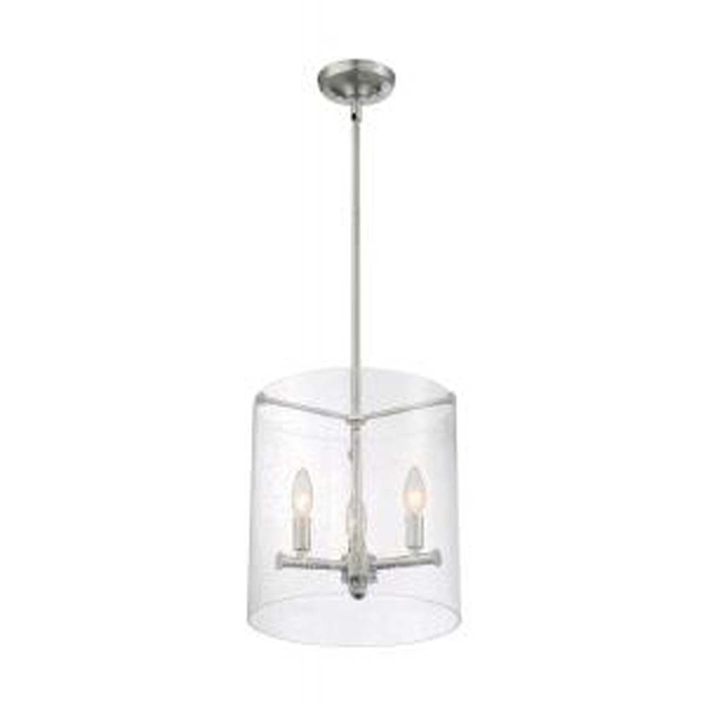 Nuvo Bransel 3-Light Pendant w/ Seeded Glass in Brushed Nickel Finish