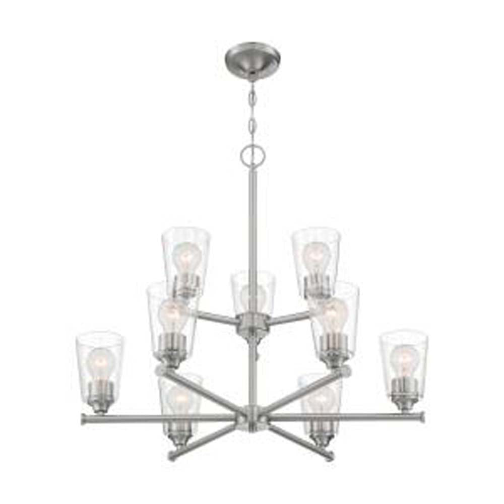 Nuvo Bransel 9-Light Chandelier w/ Seeded Glass in Brushed Nickel Finish