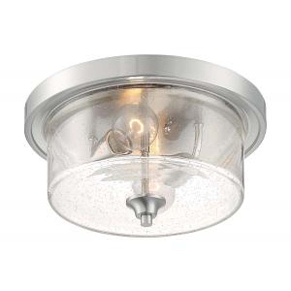Nuvo Bransel 2 Light Flush Mount w/ Seeded Glass in Brushed Nickel Finish