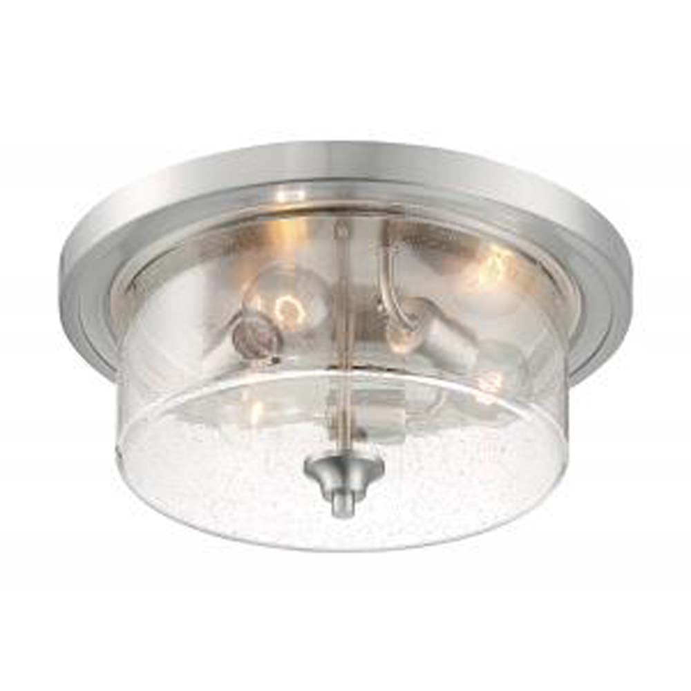 Nuvo Bransel 3-Light Flush Mount w/ Seeded Glass in Brushed Nickel Finish