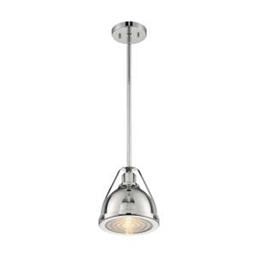 Nuvo Barbett 1-Light Small Pendant w/ Fresnel Glass in Polished Nickel Finish