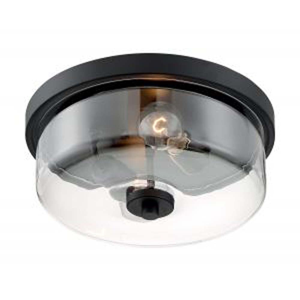 Nuvo Sommerset 2 Light Flush Mount w/ Clear Glass in Matte Black Finish