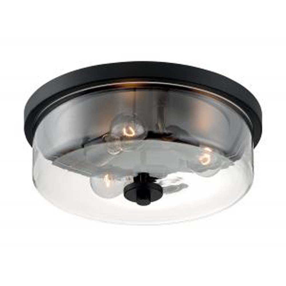 Nuvo Sommerset 3-Light Flush Mount w/ Clear Glass in Matte Black Finish