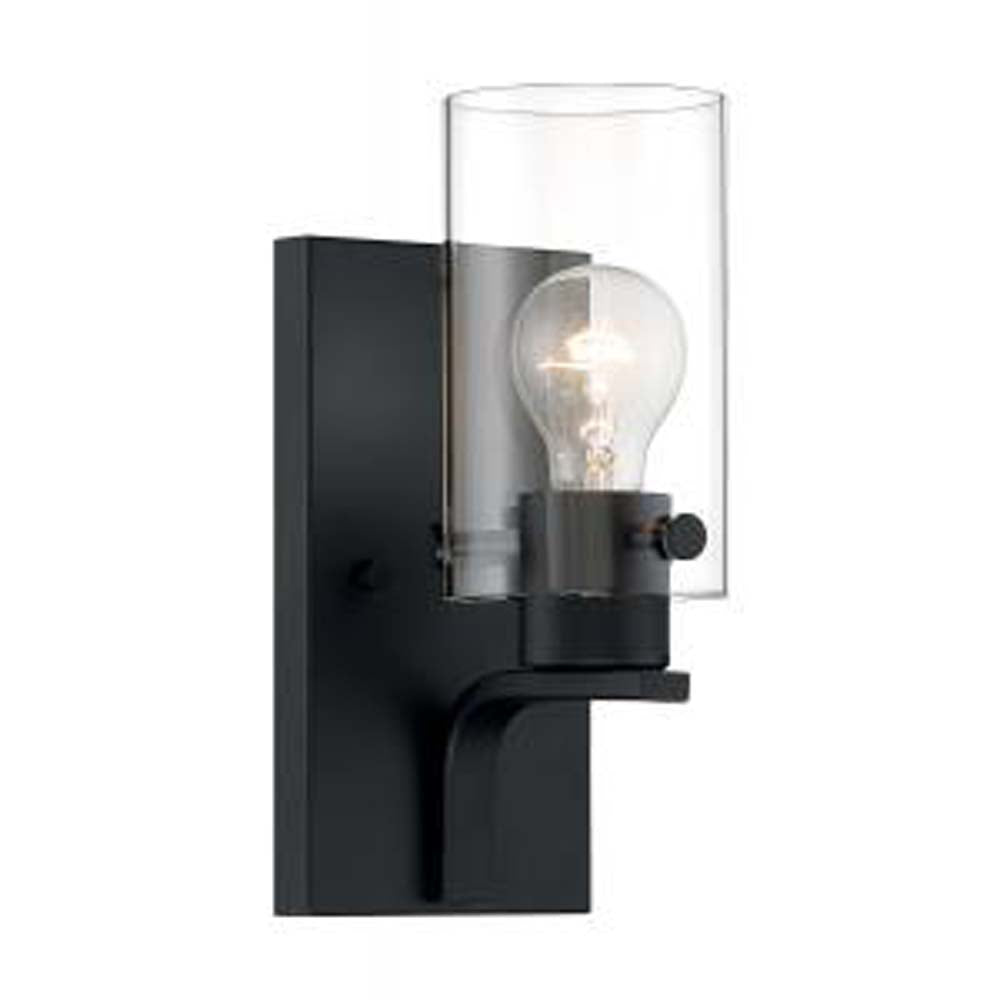Nuvo Sommerset 1-Light Vanity w/ Clear Glass in Matte Black Finish