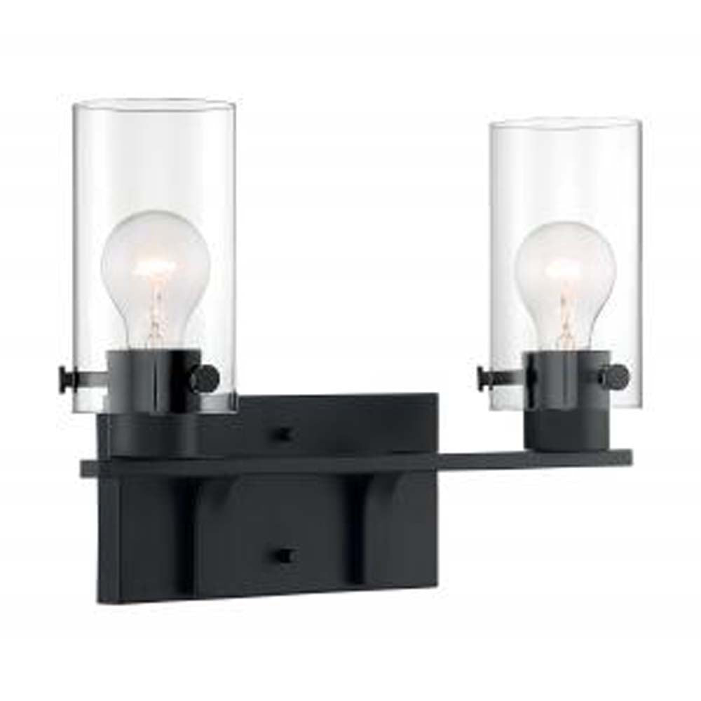 Nuvo Sommerset 2 Light Vanity w/ Clear Glass in Matte Black Finish