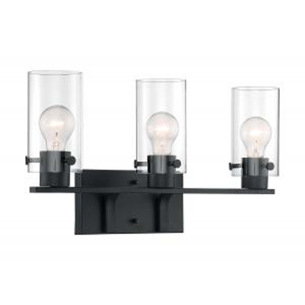 Nuvo Sommerset 3-Light Vanity w/ Clear Glass in Matte Black Finish