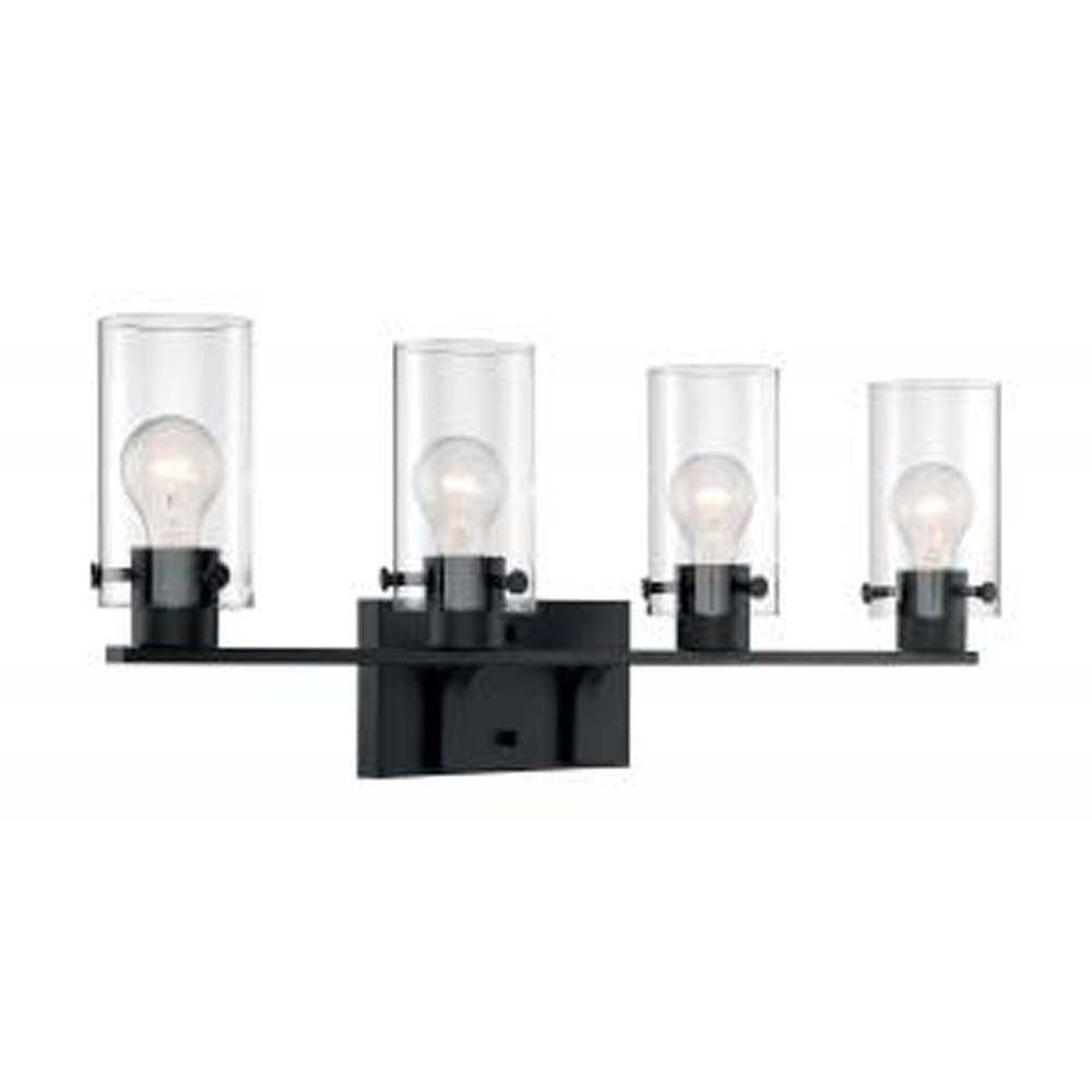 Nuvo Sommerset 4-Light Vanity w/ Clear Glass in Matte Black Finish