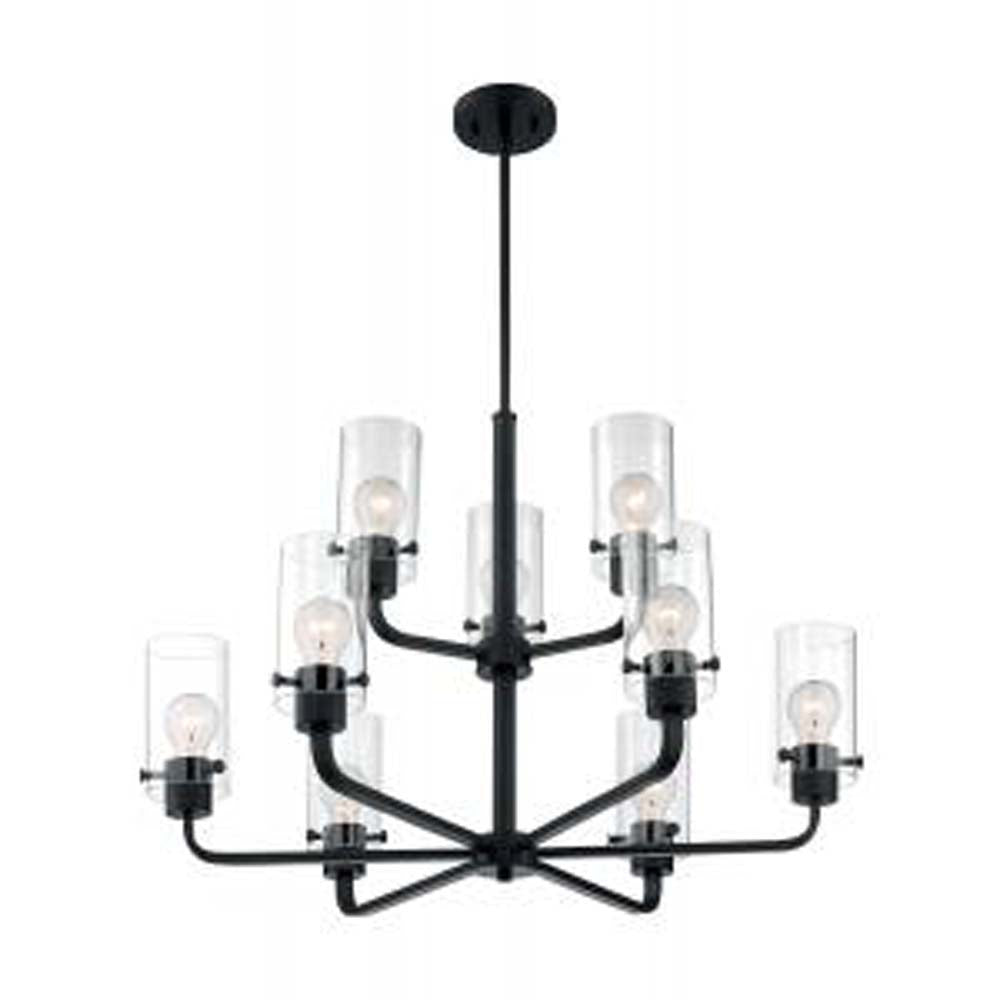 Nuvo Sommerset 9-Light Chandelier w/ Clear Glass in Matte Black Finish