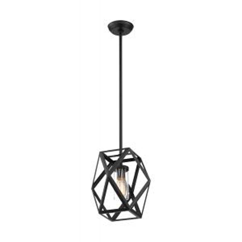 Nuvo Zemi 1-Light Mini Pendant Fixtures w/ Clear Glass in Black Finish