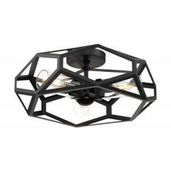 Nuvo Zemi 3-Light Flush Mount w/ Clear Glass in Black Finish