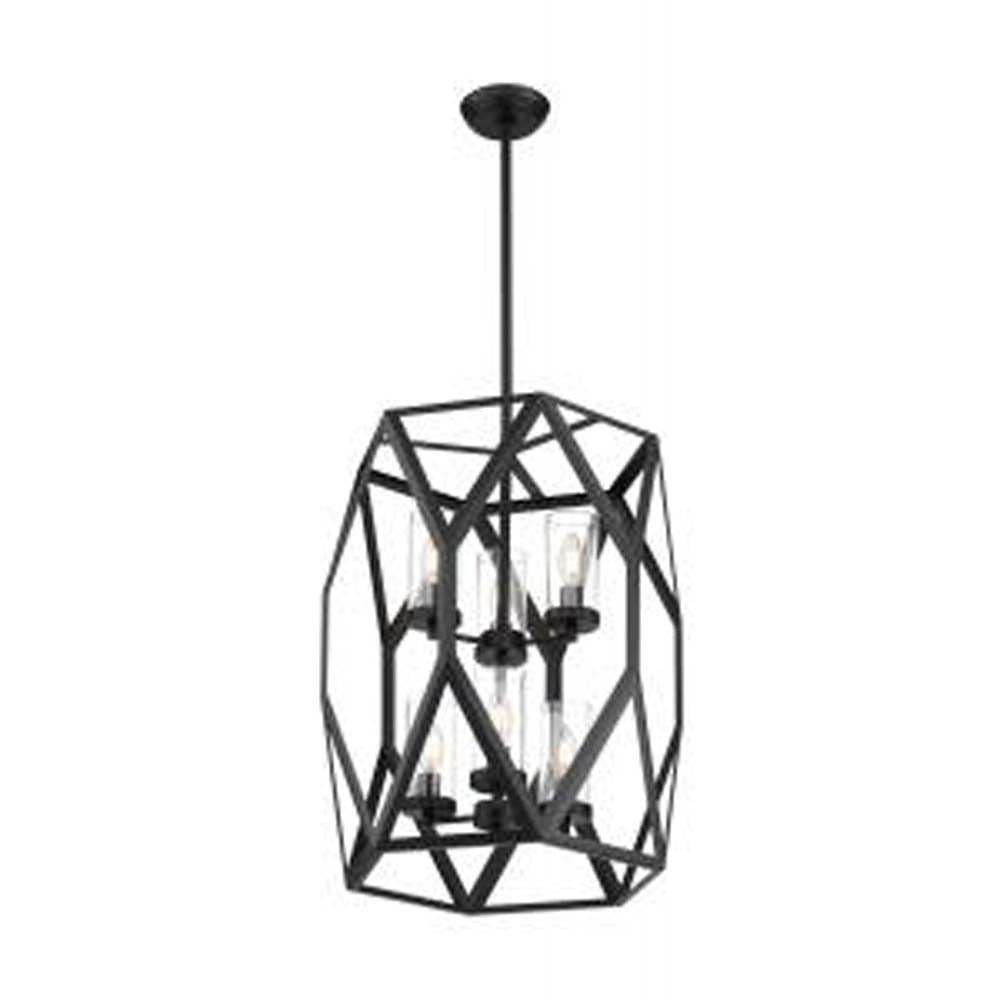 Nuvo Zemi 6-Light Pendant w/ Clear Glass in Black Finish