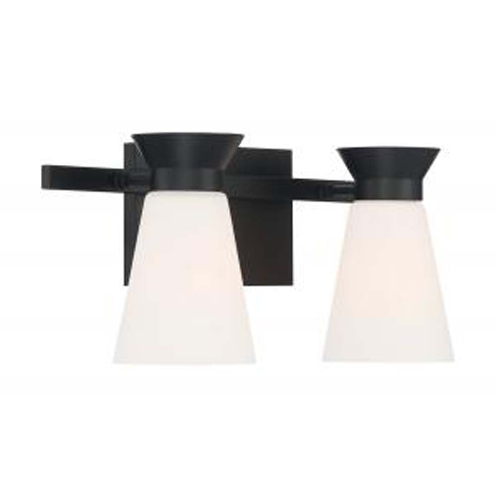 Nuvo Caleta 2 Light Sconce w/ Cylindrical Glass in Black Finish