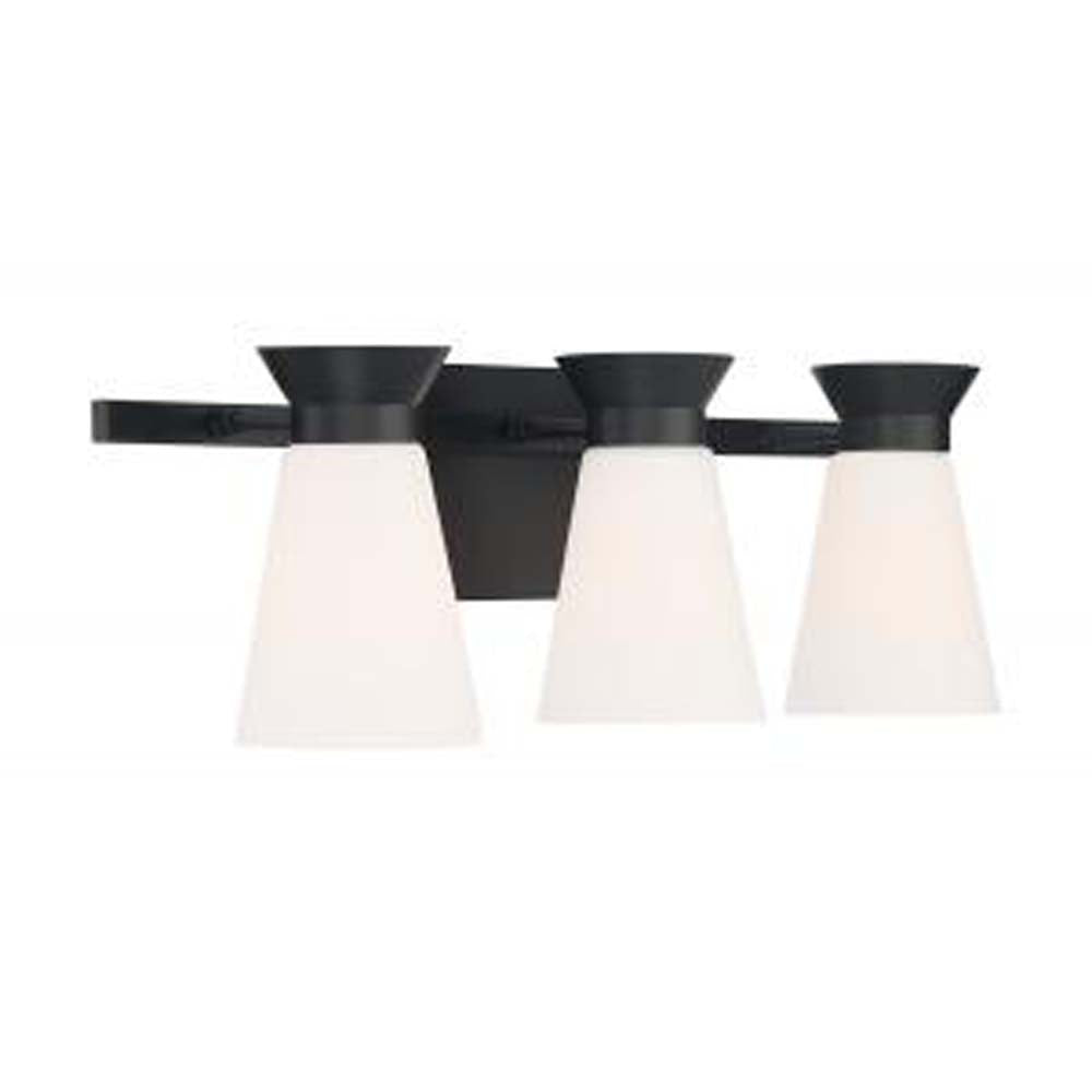 Nuvo Caleta 3-Light Sconce w/ Cylindrical Glass in Black Finish
