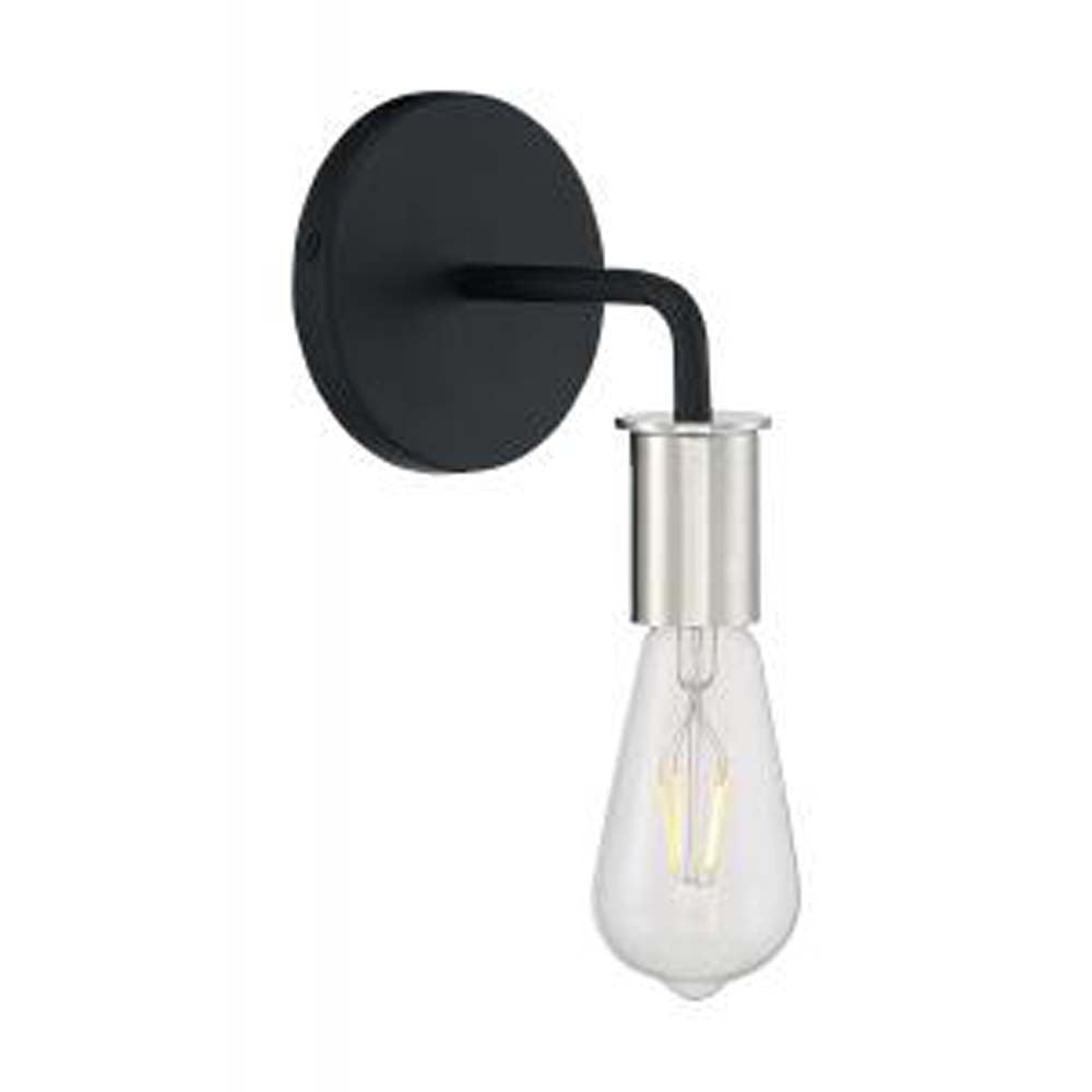Nuvo Ryder 1-Light Wall Sconce w/ Black & Polished Nickel Finish