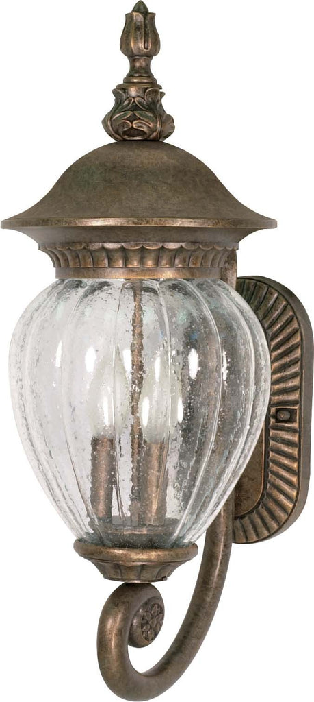 Nuvo Balun - 3 Light - 22 inch - Wall Lantern - Arm Up w/ Clear Melon Seed Glass