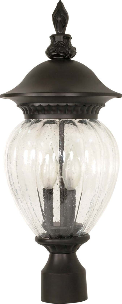 Nuvo Balun - 3 Light - 22 inch - Post Lantern - w/ Clear Melon Seed Glass