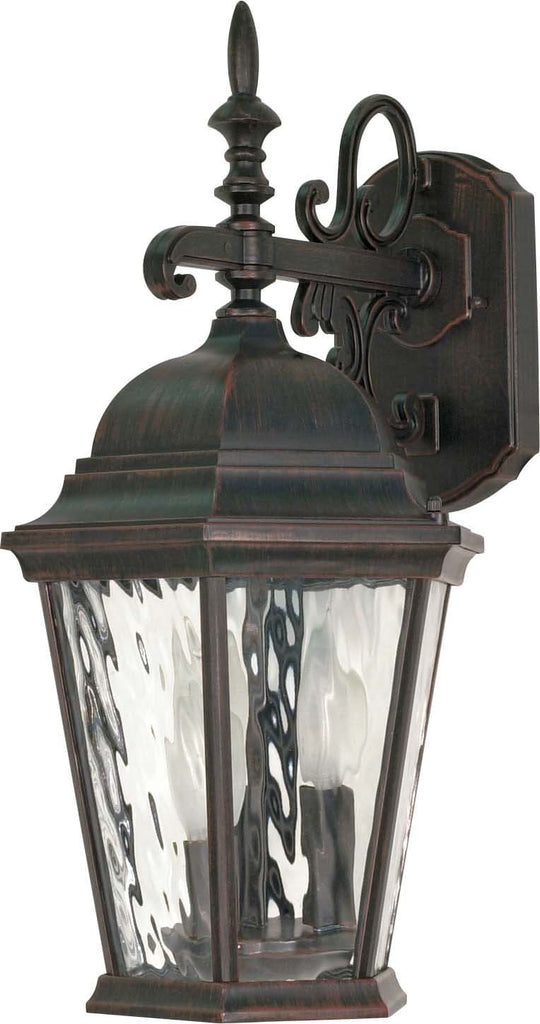 Nuvo Fordham - 3 Light - 20 inch - Wall Lantern - Arm Down w/ Clear Water Glass