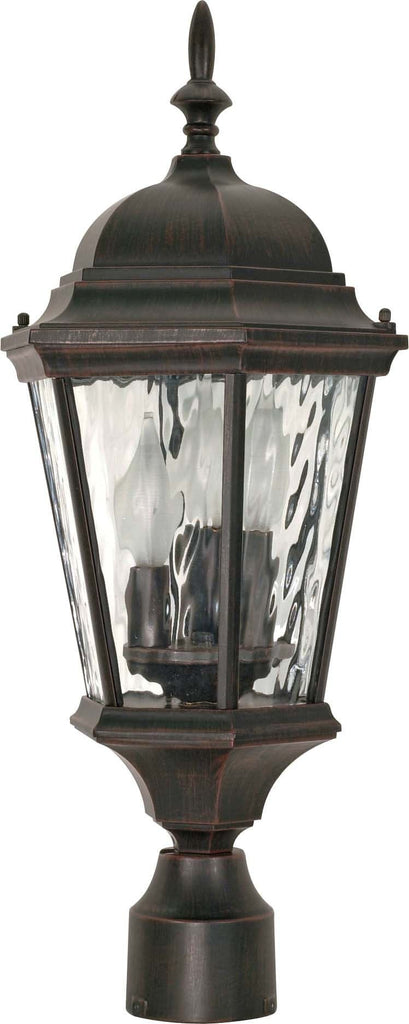 Nuvo Fordham - 3 Light - 22 inch - Post Lantern - w/ Clear Water Glass