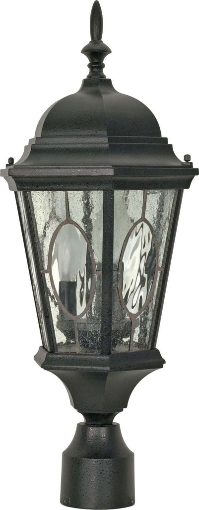 Nuvo Fordham - 3 Light - 22 inch - Post Lantern - w/ Clear Water & Seed Glass Panels