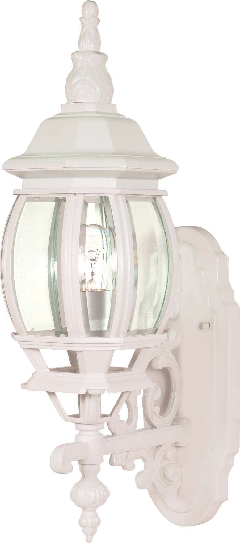 """Nuvo Central Park 1-Light 20"""" Wall Lantern w/ Clear Beveled Glass in White Finish"""