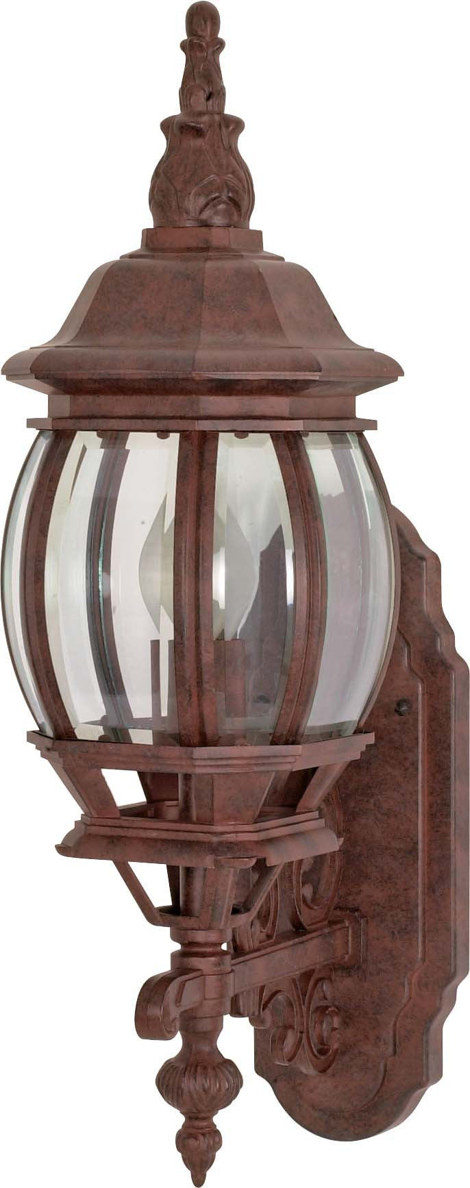 """Nuvo Central Park 1-Light 20"""" Wall Lantern w/ Clear Beveled Glass in Old Bronze"""