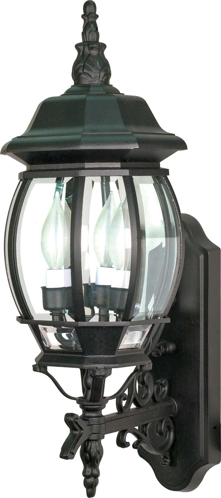 """Nuvo Central Park 3-Light 22"""" Wall Lantern w/ Clear Glass in Textured Black"""