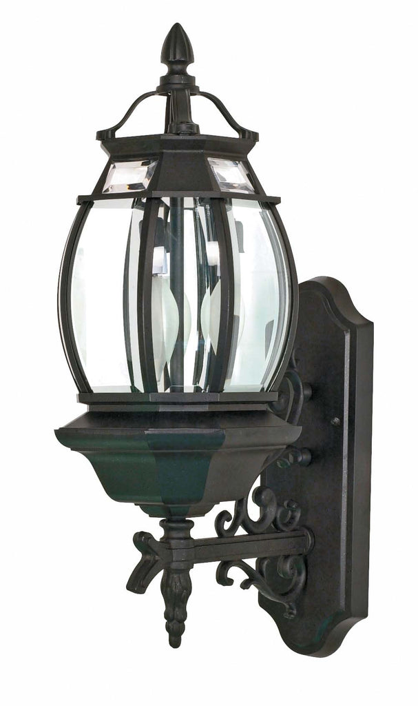 Nuvo Central Park - 3 Light - 22 inch - Wall Lantern - w/ Clear Beveled Glass