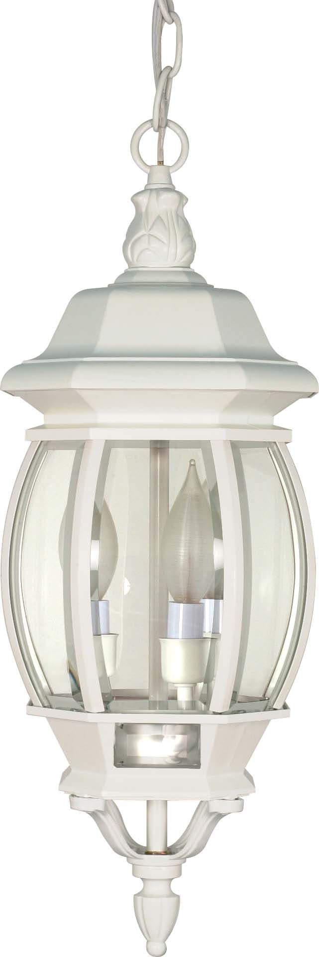"""Nuvo Central Park 3-Light 20"""" Hanging Lantern w/ Clear Glass in White Finish"""