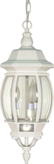 "Nuvo Central Park 3-Light 20"" Hanging Lantern w/ Clear Glass in White Finish"