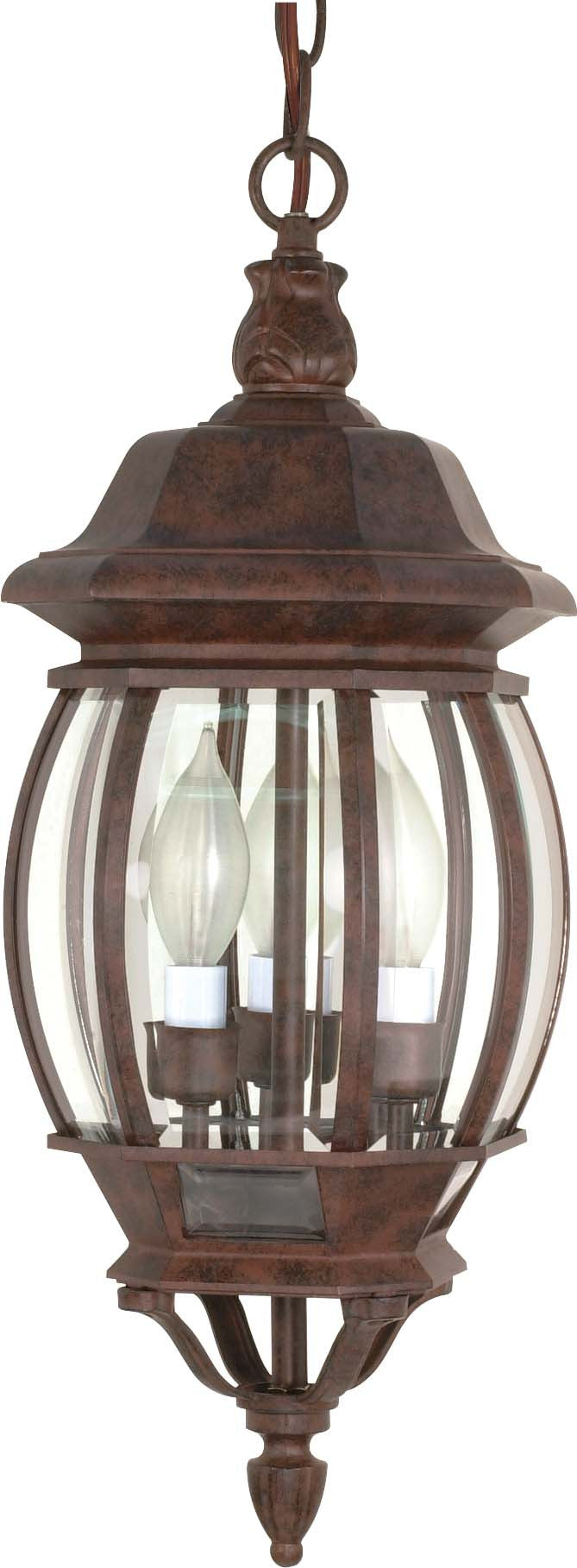 """Nuvo Central Park 3-Light 20"""" Hanging Lantern w/ Clear Glass in Old Bronze"""