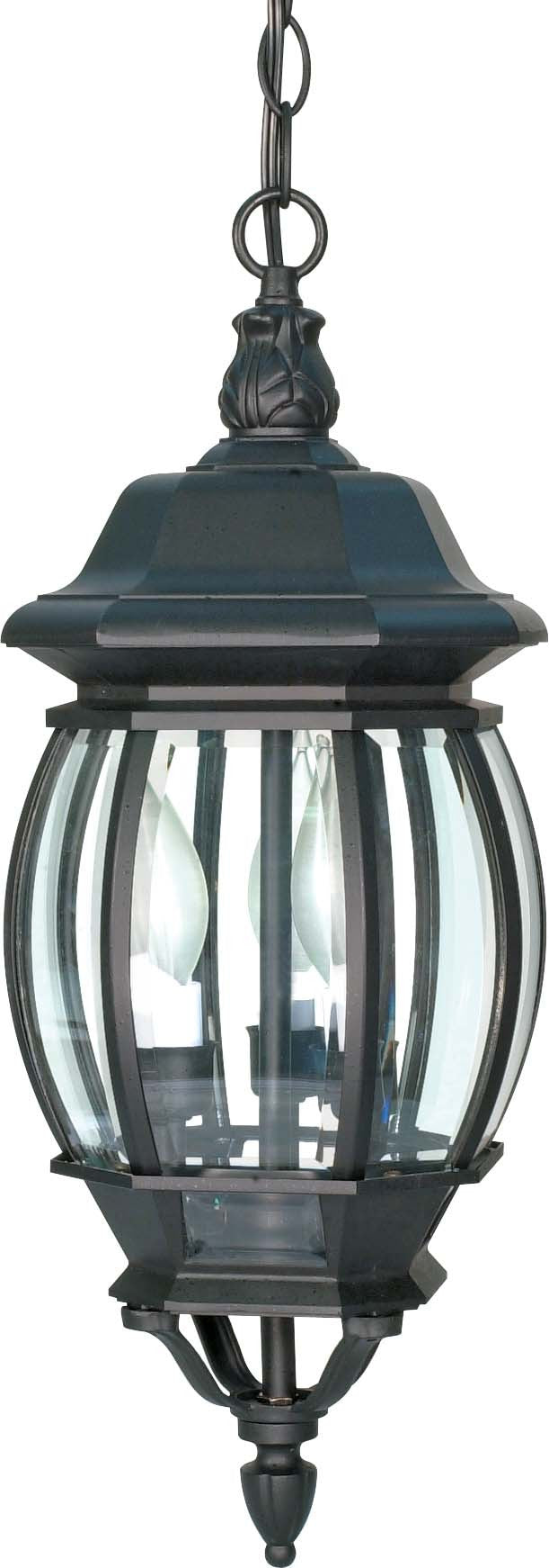 """Nuvo Central Park 3-Light 20"""" Hanging Lantern w/ Clear Glass in Textured Black"""