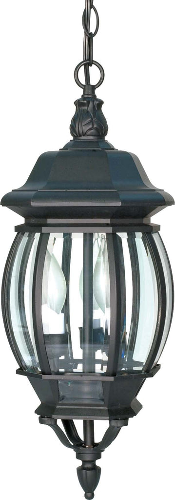 "Nuvo Central Park 3-Light 20"" Hanging Lantern w/ Clear Glass in Textured Black"