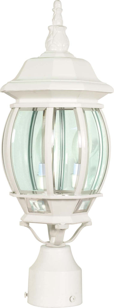 "Nuvo Central Park 3-Light 21"" Post Lantern w/ Clear Glass in White Finish"