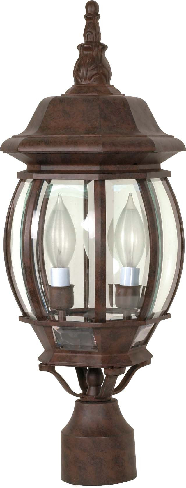 """Nuvo Central Park 3-Light 21"""" Post Lantern w/ Clear Glass in Old Bronze"""